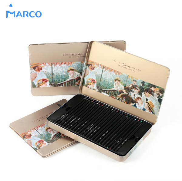 Marco Raffine 24/36/48 Colors Black Wood Water-soluble Pencils Lapis De Cor Non-toxic Profissional Iron Boxed Colored Pencil стоимость