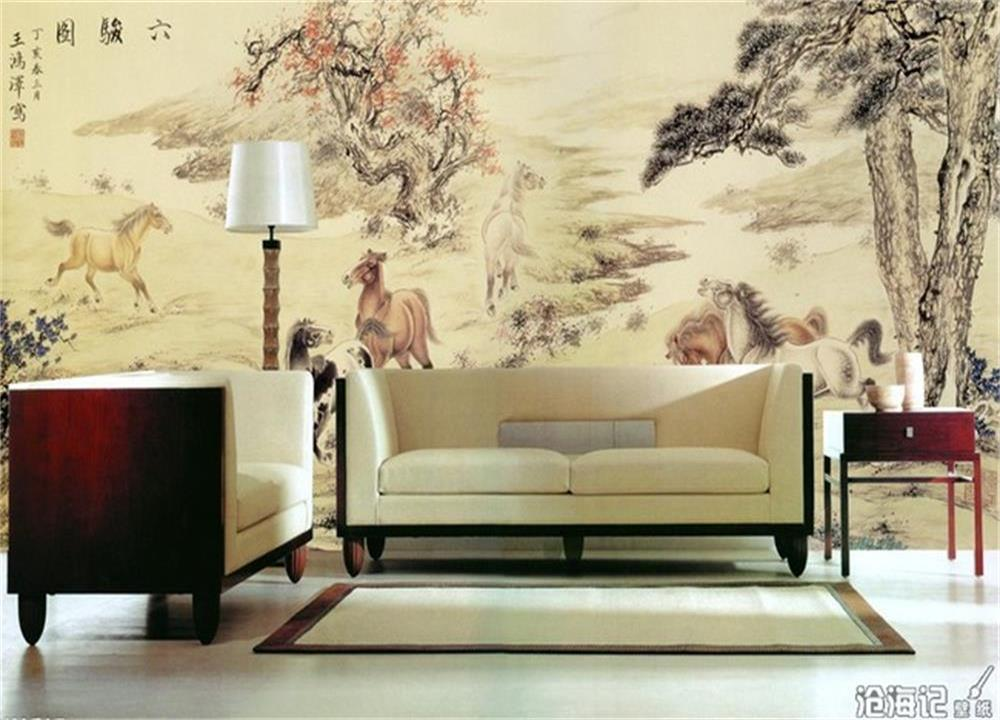 3d wallpaper custom photo wallpaper mural six fine horse Chinese painting living room sofa TV background wall non-woven sticker