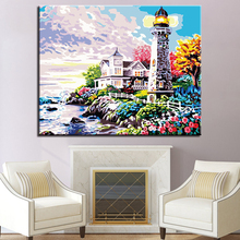 Seaview House And Lighthouse Landscape Picture By Numbers DIY Painting Kits Hand paited On Linen Canvas Decor Wall Artwork