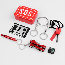 Outdoor Survival Tool Emergency Package Combination Suit And Equipment Sos Knife Boxes Flint For Compass 9.5cm*6.6cm*3cm
