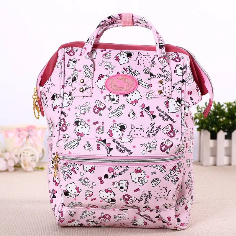 New Cartoon Genuine Hello Kitty My Melody Backpack Schoolbag Pu Pink Primary School Bags Hello Kitty Travel Bag For Girls Gift