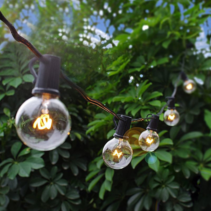 25FT Patio String Lights G40 25 Globe Bulbs Outdoor Waterproof Garland Light Wedding Dollhouse Christmas Decorative Fairy Lights