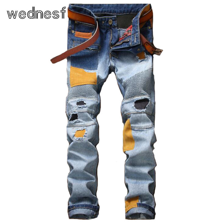 #1910 2017 Ripped jeans for men Patchwork Fashion Skinny jeans men Distressed Light blue Motorcycle jeans Straight biker jeans