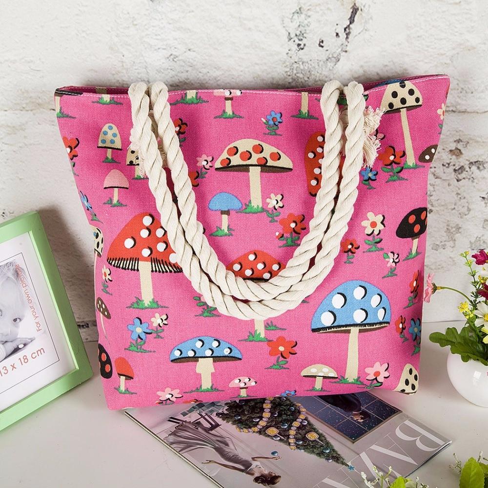 Perilla 2018 New Summer Women Canvas Shoulder Beach Bag Female Casual Tote Shopping Bag Big floral Messenger Bags Bohemian Style