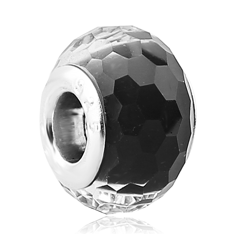 Free Shipping Silver Core Black Faceted Crystal Murano Glass Beads For Women Pandora Charm Bracelets DIY Jewelry Making