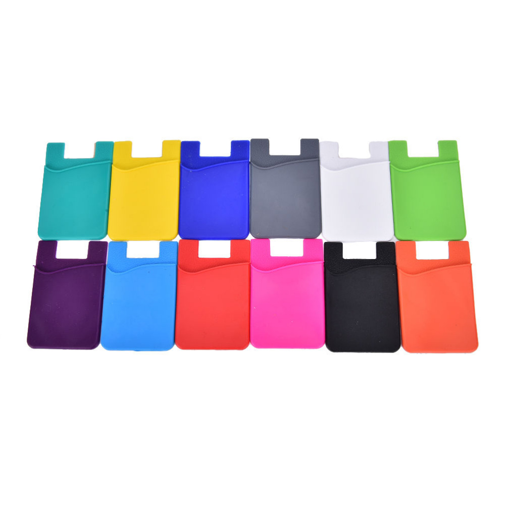 Fashion Adhesive Sticker Back Cover Card Holder Case Pouch For Cell Phone Colorful Card Holder 1PCS