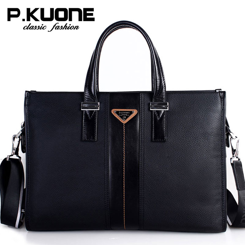 P.Kuone Brand Men Bag Genuine Leather Handbag Business Men Briefcase laptop bag shoulder bags genuine leather men bags brand men laptop briefcase business bag cow leather handbag shoulder bag messenger bag 1a