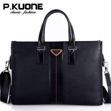 P.Kuone Luxury Handbags Men Bags Designer Real Leather Shoulder Bag Messenger Male Briefcase