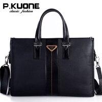P Kuone Luxury Handbags Men Bags Designer Real Leather Shoulder Bag Messenger Bags Male Briefcase