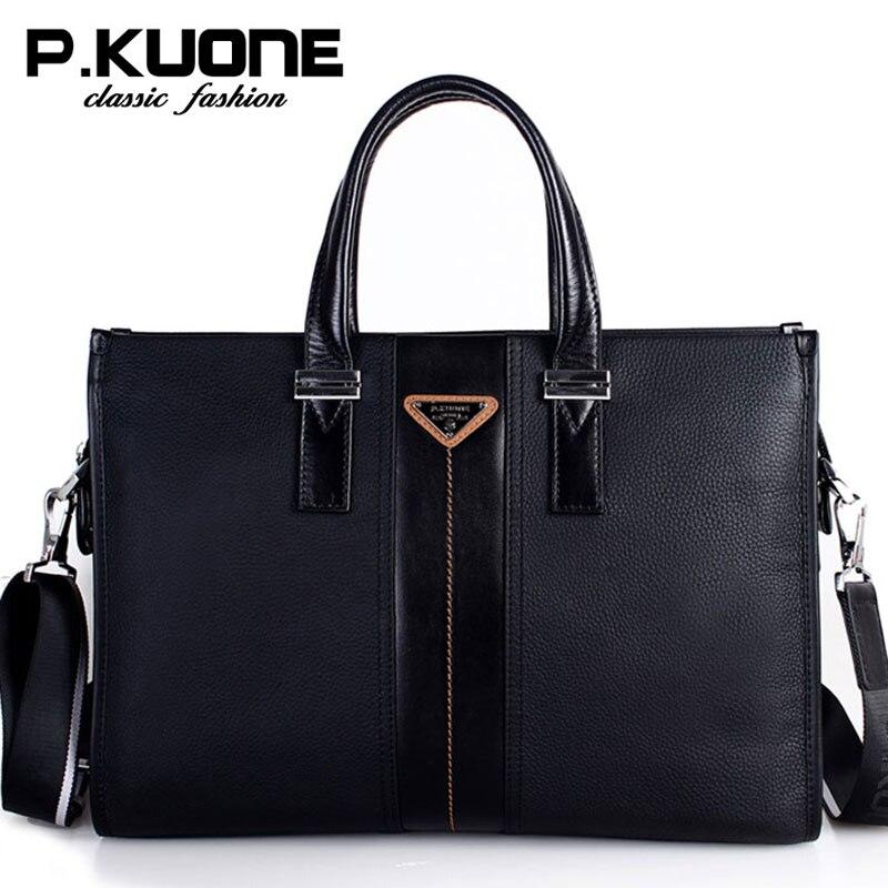 P.Kuone Brand Men Bag Genuine Leather Handbag Business Men Briefcase laptop bag shoulder bags