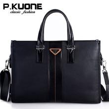 P.Kuone Brand Men Bag Genuine Leather Handbag Business Men Briefcase la
