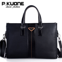 P Kuone Luxury Handbags Men Bags Designer Real Leather Shoulder Bag Messenger Bags Male Briefcase