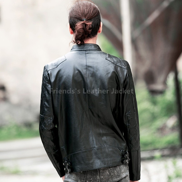 2017 David Beckham Men Leather Jacket Black Stand Collar Plus Size 3XL Slim Fit Men Winter Casual Motorcycle Coat FREE SHIPPING