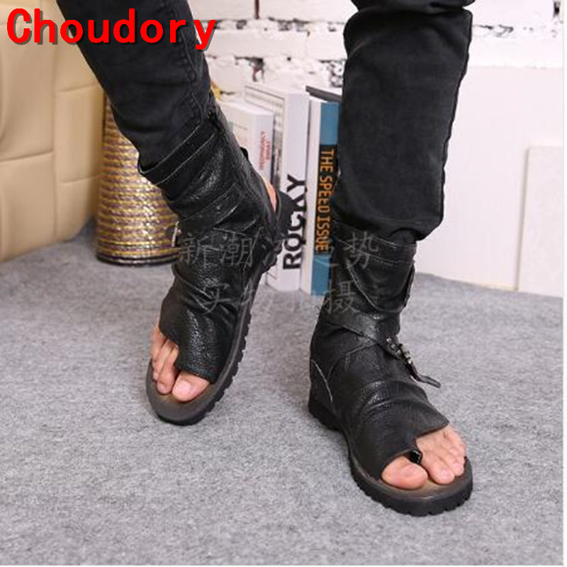 Choudory Summer Toe-Knob Men Sandals Gladiator Men Summer Motorcycle Boots Black Open Heels Mens Shoes Size38-46 Drop Ship