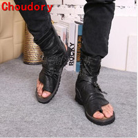 Choudory Summer Toe Knob Men Sandals Gladiator Men Summer Motorcycle Boots Black Open Heels Men's Shoes Size38 46 Drop Ship