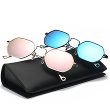 Pop Age New Hexagon Clear Pink Sunglasses Women Small Frames Vintage Round Metal Sun glasses mirror Eyewear Oculos UV400