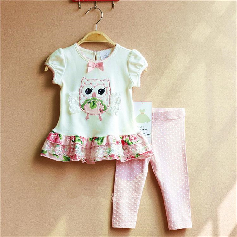 Baby Set Baby Girls Clothes Toddler Girl Clothing Cloth Embroidery Owl T shirt + Leggings Children Clothing Girls Summer Clothes ...