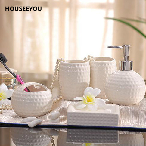 Porcelain Bathroom Sets Ceramic Golf Ball Shape Dimpled Grain Design - Golf bathroom accessories