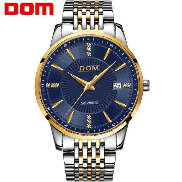 Men Watch Mechanical Stainless Steel Thin Japan Movement DOM Blue Male Watch Waterproof Auto Self-wind 2018 relogio M-79