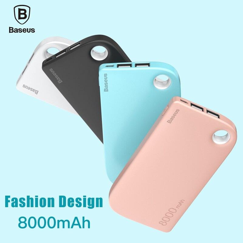 imágenes para Baseus 8000 mah dual usb power bank para iphone 7 samsung cargador de batería externa powerbank copia de seguridad del teléfono s8 tablet portátil