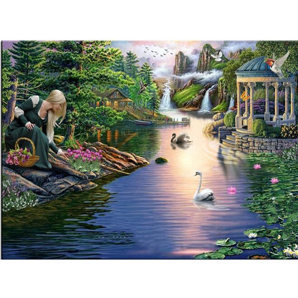 Girl pluck flowers DIY Diamond painting 5D cross stitch crystal round DIY Diamond embroidery decor Landscape lake swan KL380