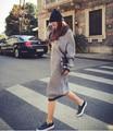 Las Mujeres embarazadas Con Grasa XL Largo Suéter de Maternidad Coreano Primavera Otoño Abrigo de Invierno Vestido de Suéter flojo