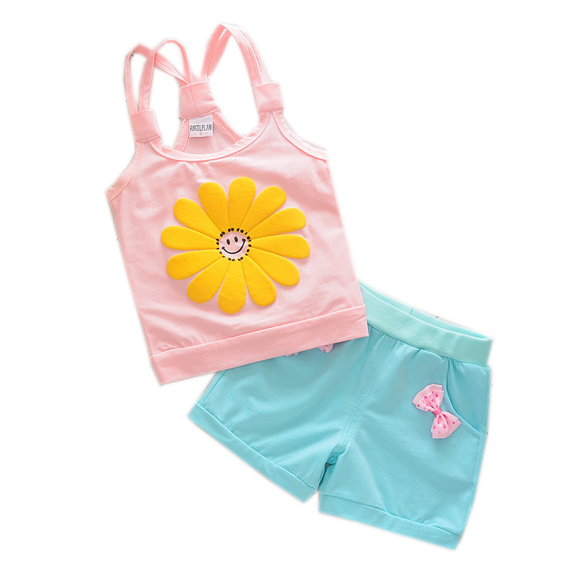Fashion Baby Cotton Clothing Outfit Children Girls Vest Short 2Pcs/sets 2018 Summer Infant Kids Flower Sling T-shirt Tracksuits flower sleeveless vest t shirt tops vest shorts pants outfit girl clothes set 2pcs baby children girls kids clothing bow knot