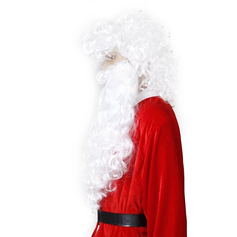 Kunsthaarperücken Soowee Weihnachten Kostüme Weihnachtsmann Perücke Und Bart Synthetische Haar Kurze Santaclaus Cosplay Perücken Für Männer Weiß Haarteil Einfach Zu Verwenden