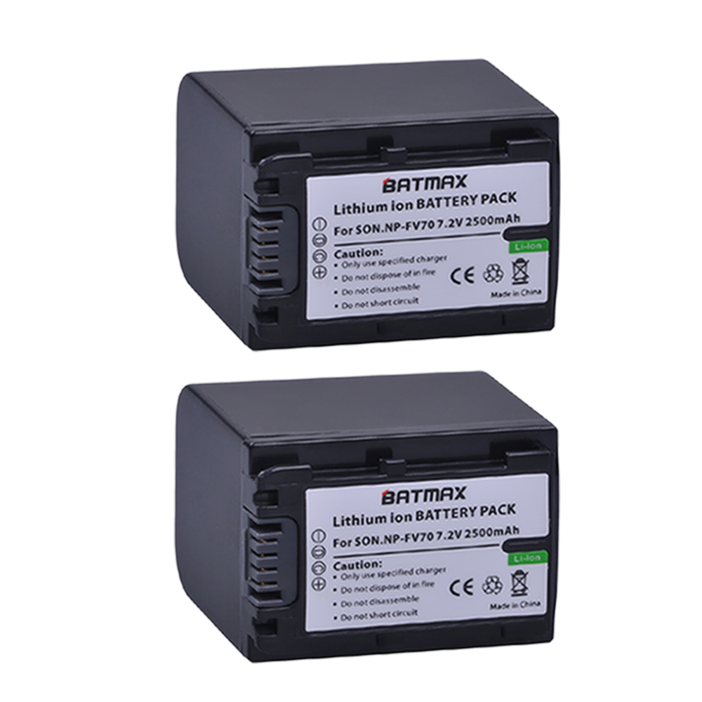 2Pack 7 2V 2500mAh NP FV70 NP FV70 Rechargeable Camera Batteries for Sony HDR CX230