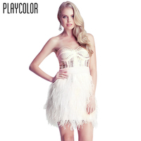 PLAYCOLOR Strapless White Black Feathers Short Cocktail Dresses Fashion Homecoming Dress Sexy Girls Party Dresses TB170711