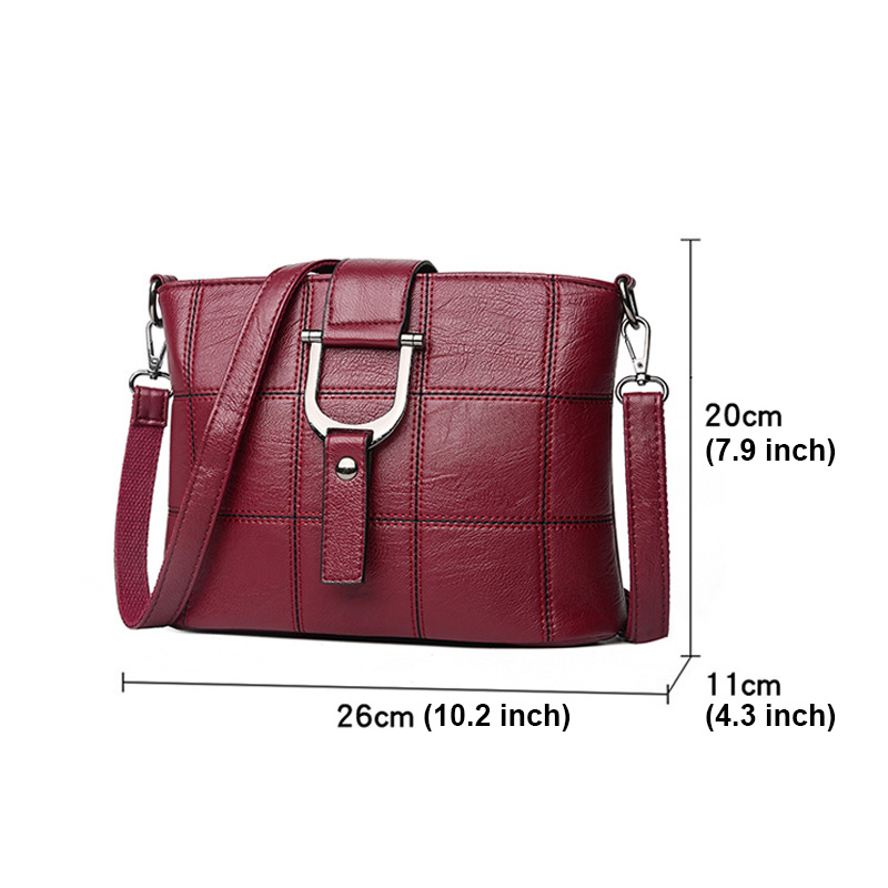 Women Quality Leather Plaid Pattern Handbag  2