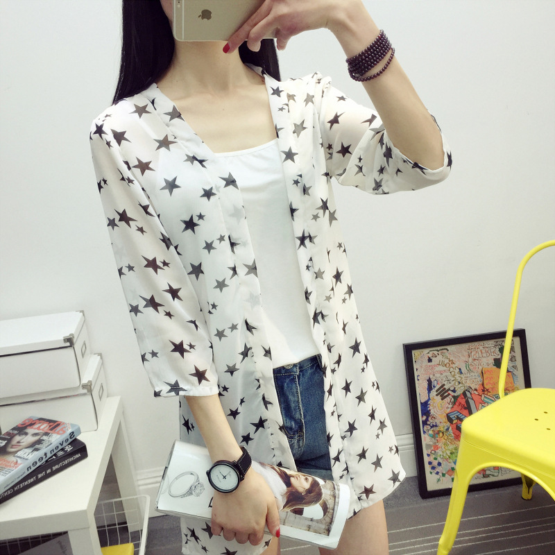Summer   Blouse   Women Clothing Casual Chiffon   Blouse   Cardigan print White big star/White samll star/Black big star   Blouse     Shirt
