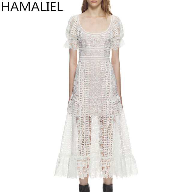 606b0b528792 HAMALIE Self Portrait Style Lace Summer Dress 2018 Runway Women White  Hollow Out Crochet Floral High Waist Short Sleeve Dress
