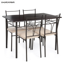 iKayaa US FR Stock 5PCS Modern Metal Frame Kitchen Table Chairs Set for 4 Person Furniture 120kg Capacity Dining Room Sets(China)