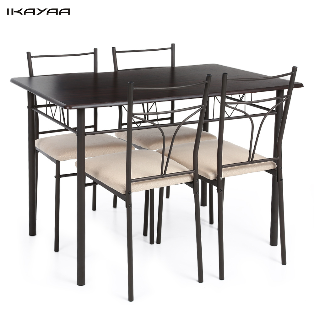 Ikayaa us uk fr stock 5pcs modern metal frame kitchen for 4 kitchen table chairs