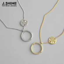 JShine Unique Two-tone 925 Sterling Silver Round Sheet Circle Pendant Necklaces Clavicle Chain Pendants for Women Fine Jewelry