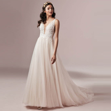 цена на Verngo Boho Wedding Dress Lace Beading A-line Wedding Gowns Illusion V-neckline, and V-back Bride Dress Vestido Novia