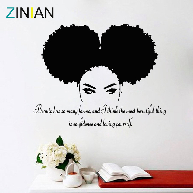 Tribal African Woman Decal Beauty Quote Beautiful Afro Girl Home Decor Living Room Bedroom Confidence Wall Stickers Salon Z900