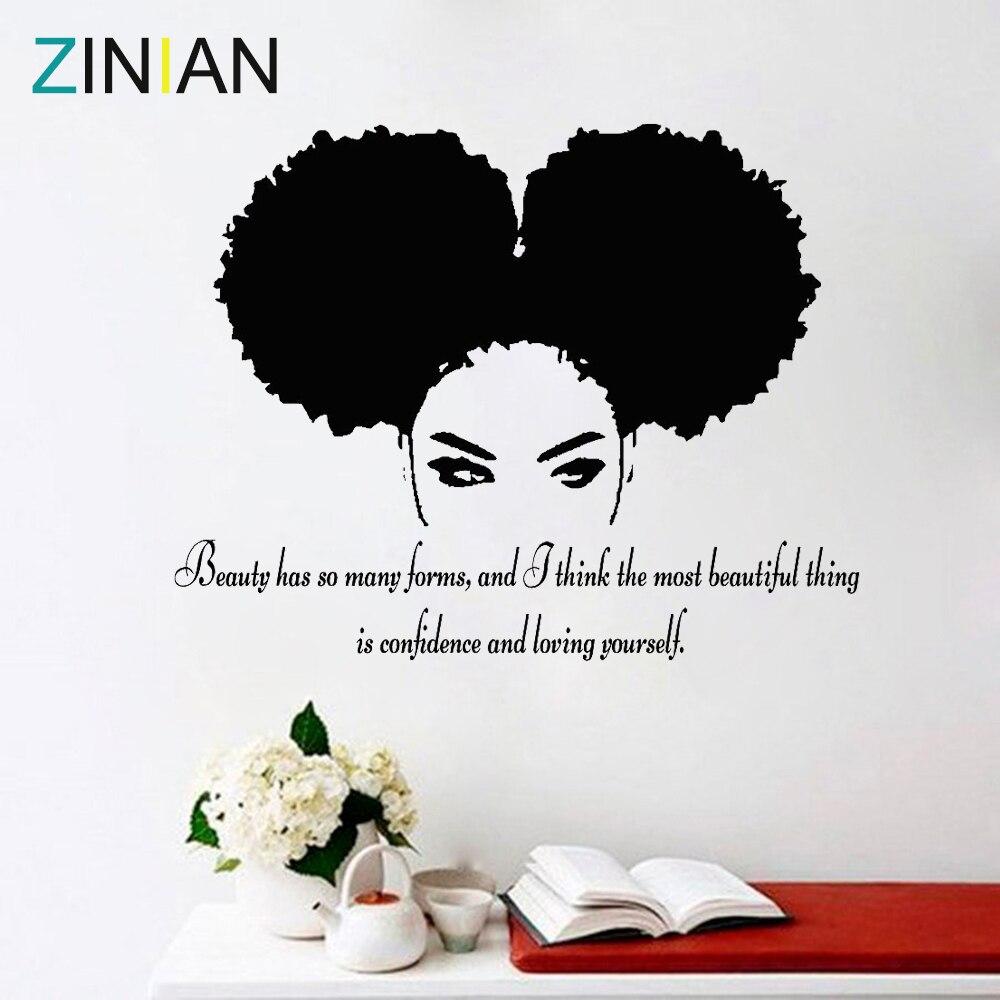 Tribal Afrikanische Frau Aufkleber Schönheit Zitieren Schöne Afro Mädchen Wohnkultur Wohnzimmer Schlafzimmer Vertrauen Wand Aufkleber Salon Z900
