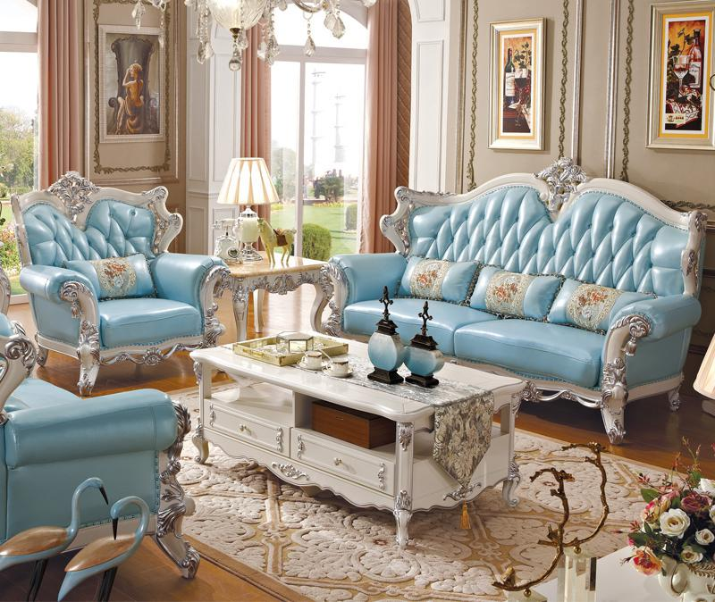 Living Room Luxury European Style Solid Wood Sofa Combination Leather U  Leather Leather Carved