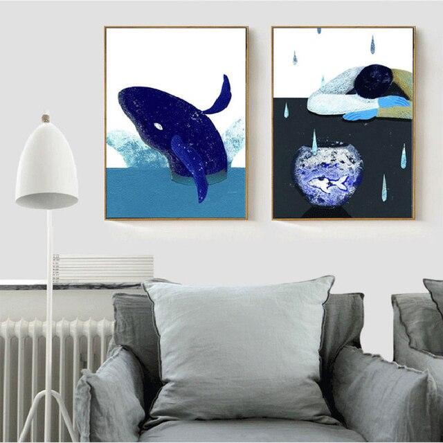 HAOCHU Nordic Dekoration Malerei Mediterranen Stil Wohnzimmer Schlafzimmer  Moderne Einfache Kleine Frische Cartoon Muster Wand Poster