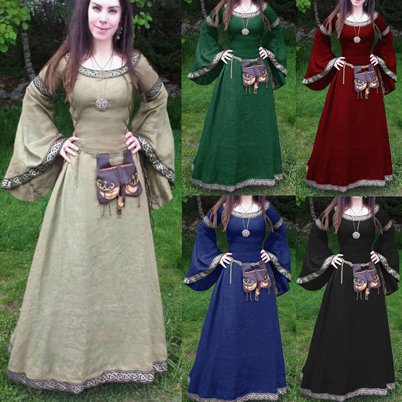 Halloween Woman Medieval Princess Flare Sleeve Dress Polyester Plus Size Skinny Female Retro Palace Renaissance Gothic Ball Gown