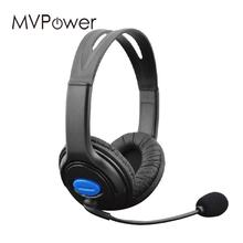 MVpower Hot Sale dual big ear Wired Gaming Chat Headset Headphone Microphone For PS4 Black headphone