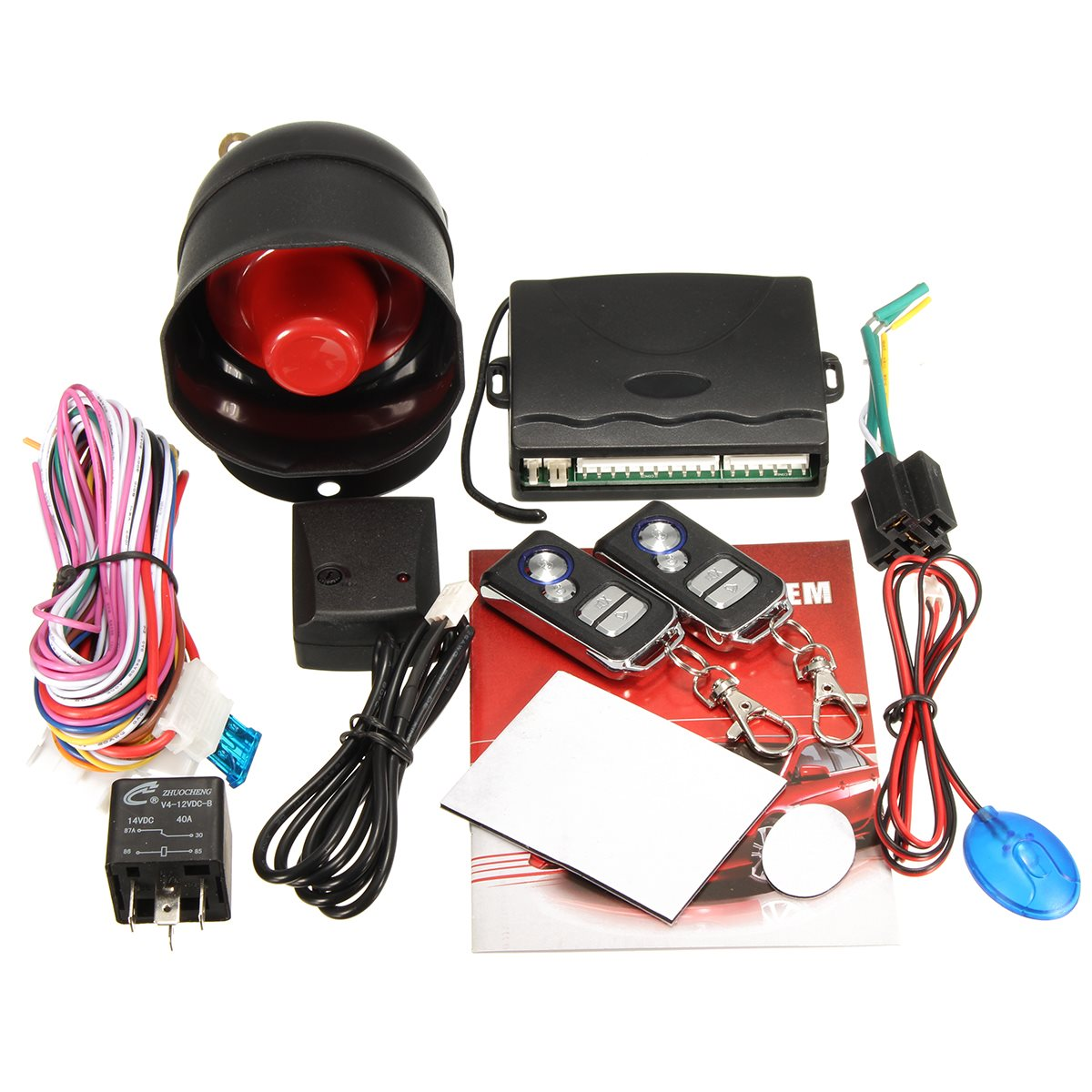 NEW Universal 1-Way Car Vehicle Alarm Protection Security System Keyless Entry Siren +2 Remote Control Burglar top quality rolling code pke car alarm system with passive keyless entry power window output automatically lock unlock car