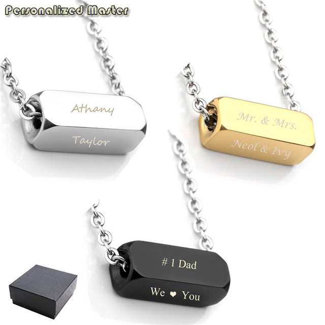 ba2f806d4314d US $15.56 |Aliexpress.com : Buy Personalized Master Free Engrave  Personalized Custom Men's Stainless Steel Vertical Cuboid ID Bar Necklace  Square Cube ...