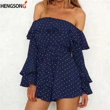 Off Shoulder Ruffle Dot Sexy Playsuit Romper Women Flare Sleeve Sash Summer Playsuit Casual Sweet Chiffon