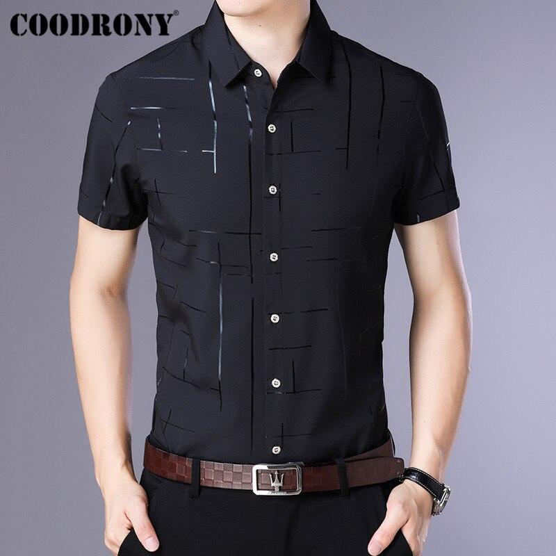 dc5c6b498cf7b8d COODRONY короткий рукав мужская рубашка Camisa Masculina 2019 модная летняя  рубашка Для мужчин Костюмы деловые рубашки