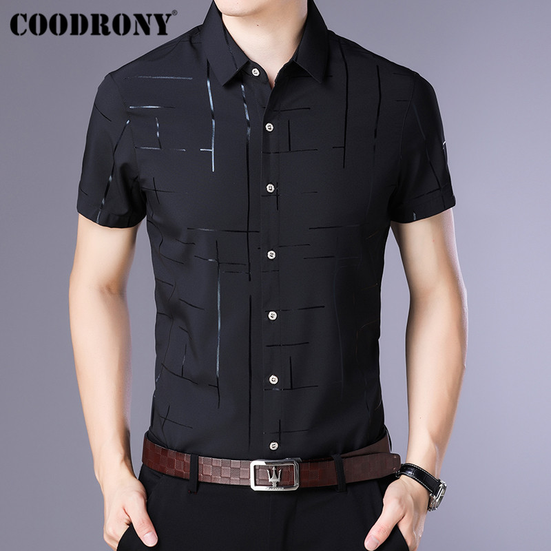 COODRONY Short Sleeve Men Shirt Camisa Masculina 2019 Summer Cool Shirt Men Clothing Business Casual Shirts Chemise Homme S96033