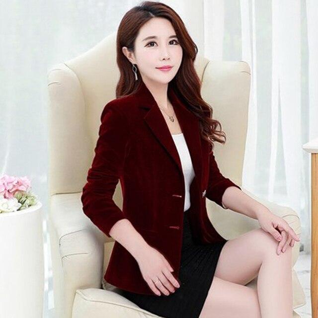Женский Золотой бархатный костюм весна и осень загружен новый костюм Повседневный корейский тонкий сплошной цвет маленький костюм куртка TTYC04