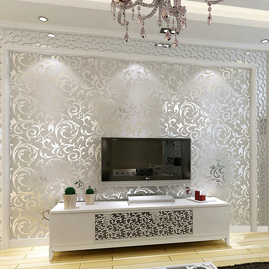 Genuine Victorian Glitter Wallpaper 3D Silver Background Wall Roll Home Decor PVC Paper For
